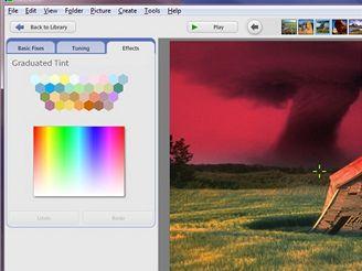 Picasa - přechodový barevný filtr pro obarvení oblohy